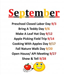 preschool September events