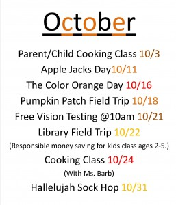 preschool oct. events
